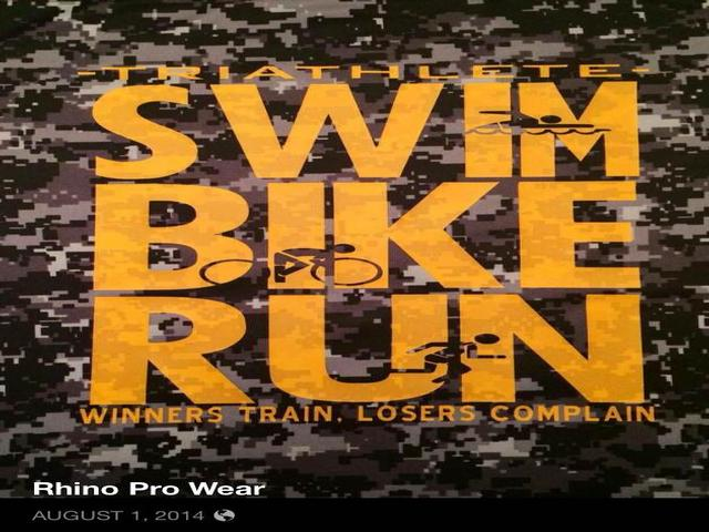 sports,triathlon,Swim,Bike,Run,clipart,lineart,line art,t-shirt,t-shrits,tee shrits,designs,silk,screen,teeshirts, screen-printing,embroidery,logo,mascot,Yellow vinyl on BAW black digi-camo performance shirt.,Rhino Pro Wear,Springfield,IL,62712